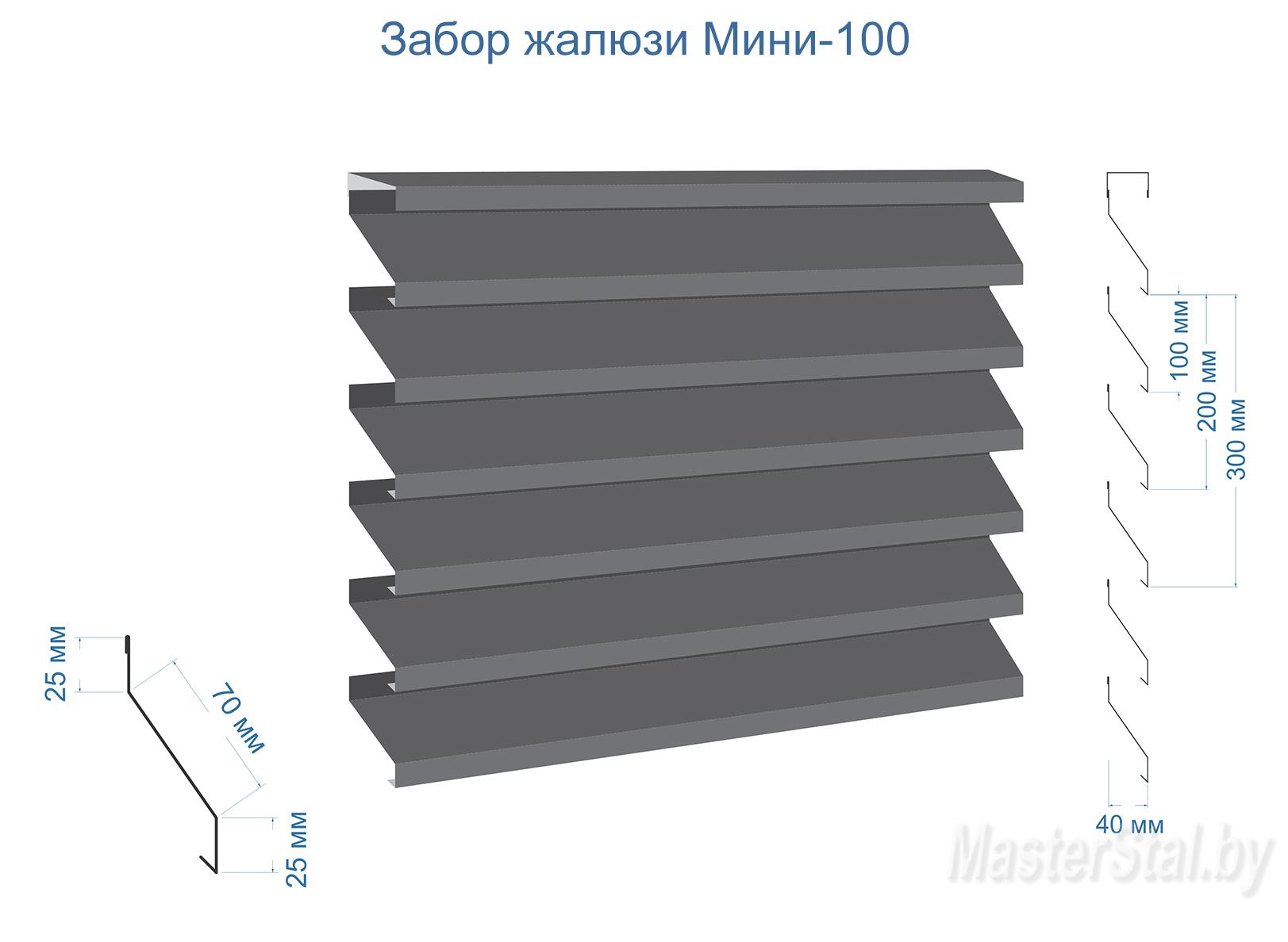 Забор жалюзи металлический Мини-100 размеры