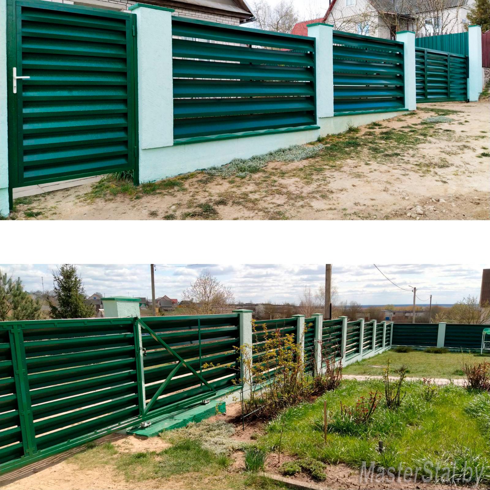 Двухсторонний забор жалюзи Макси-250 с воротами и калиткой Стандарт-160 самостоятельный монтаж